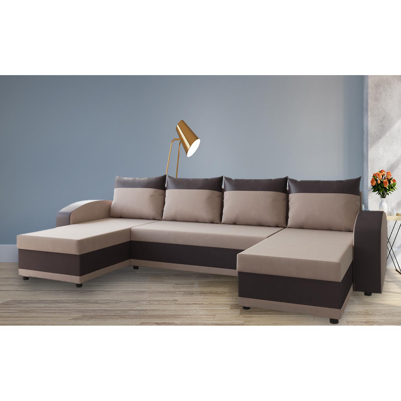 Разтегателен ъглов п-образен диван ANDOLI Adrian mocka PO дамаска с 3 ракли и 4 бр възглавници