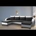 Разтегателен ъглов п-образен диван ANDOLI Adrian black PO дамаска с 3 ракли и 4 бр възглавници