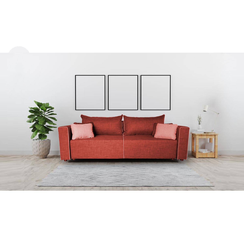 Разтегателен диван с ракла ANDOLI Denim, bordo дамаска, с 2 броя големи възглавници и 4 бр. малки