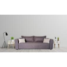 Разтегателен диван с ракла ANDOLI Denim, gray дамаска, с 2 броя големи възглавници и 4 бр. малки