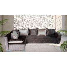 Разтегателен ъглов диван ANDOLI Ema brown дамаска и ракла за багаж