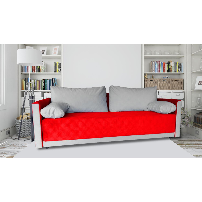 Разтегателен диван с ракла ANDOLI GeRi red дамаска, с 2 броя големи възглавници и 2бр. малки