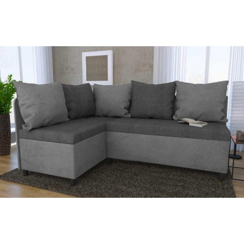 Разтегателен кухненски диван с 2 ракли ANDOLI Kadis lt grey дамаска с 5 броя големи възглавници