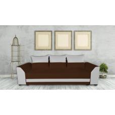 Диван ANDOLI Karina тройка brown с функция сън, ракла и подвижни възглавници, дамаска и еко кожа