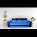 Диван ANDOLI Karina тройка blue с функция сън, ракла и подвижни възглавници, дамаска и еко кожа