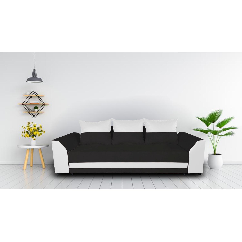 Диван ANDOLI Karina тройка black с функция сън, ракла и подвижни възглавници, дамаска и еко кожа