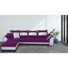 Разтегателен ъглов диван ANDOLI KARINA XL Purple Дамаска, подвижни възглавници и с две ракли