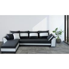Разтегателен ъглов диван ANDOLI KARINA XL Gray Дамаска, подвижни възглавници и с две ракли