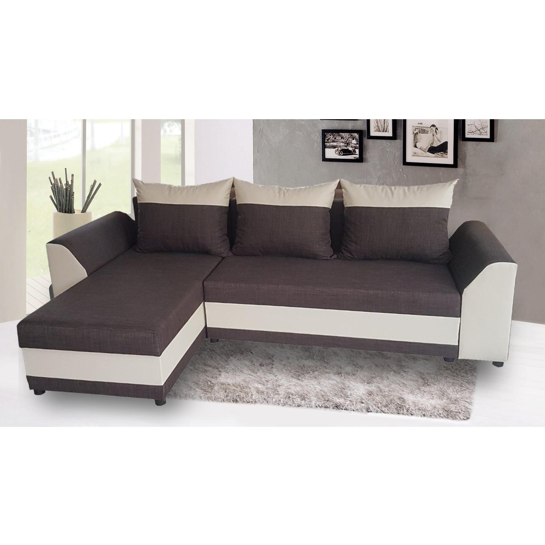 Разтегателен ъглов диван ANDOLI KARINA M Brown Дамаска, подвижни възглавници и с две ракли