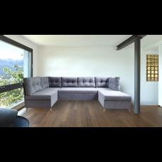 Разтегателен ъглов п-образен диван ANDOLI Magi P Gray дамаска с 3 ракли и 7 бр възглавници