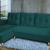Разтегателен ъглов диван ANDOLI Vegas, Green дамаска, с 2 ракли и 3 броя големи възглавници