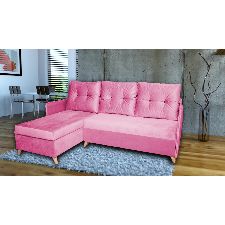 Разтегателен ъглов диван ANDOLI Vegas, Pink дамаска, с 2 ракли и 3 броя големи възглавници