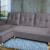 Разтегателен ъглов диван ANDOLI Vegas, Dk gray дамаска, с 2 ракли и 3 броя големи възглавници