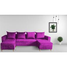 Разтегателен ъглов п-образен диван ANDOLI Promo-M ramada purpul PO дамаска с 3 ракли и 4 бр възглавници